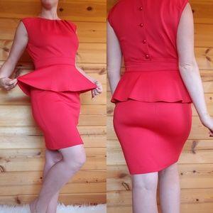 Peplum red dress short sleeveless sexy button work